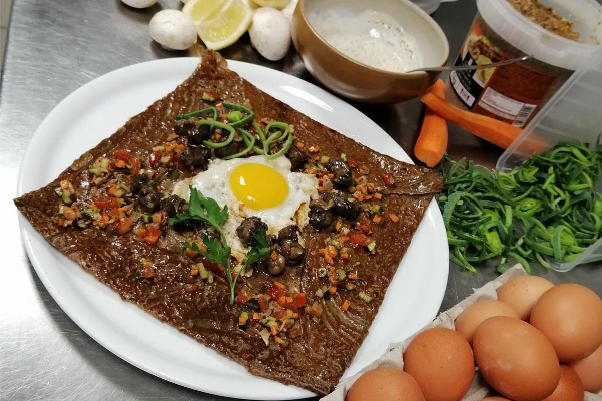 Galette salée légumes et œuf